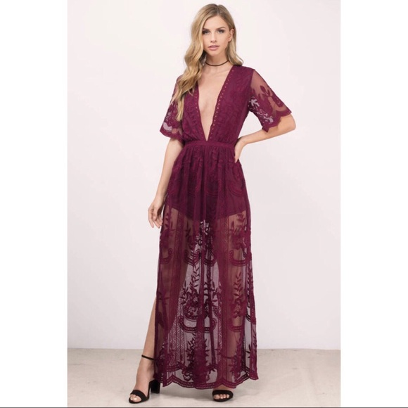 bf7972c413a Honey Punch Madonna Wine Lace Romper